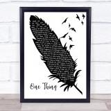 Runrig One Thing Black & White Feather & Birds Song Lyric Print