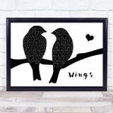 Birdy Wings Lovebirds Black & White Song Lyric Print