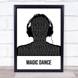 David Bowie Magic Dance Black & White Man Headphones Song Lyric Print
