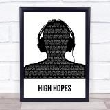 Panic! At The Disco High Hopes Black & White Man Headphones Song Lyric Print
