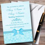 Pretty Floral Vintage Bow & Diamante Aqua Sky Blue Customised Anniversary Party Invitations