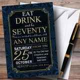 Blue & Gold Flowers 70th Customised Birthday Party Invitations