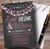 Chalk Pink Lights 70th Customised Birthday Party Invitations
