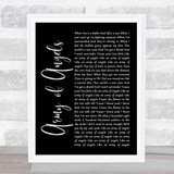 The Script Army of Angels Black Script Song Lyric Print