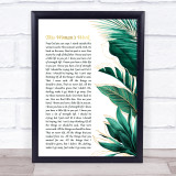 Kate Bush This Woman's Work Gold Green Botanical Leaves Side Script Song Lyric Print