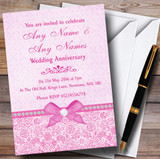 Pretty Floral Vintage Bow & Diamante Pink Customised Anniversary Party Invitations