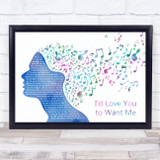 Lobo I'd Love You to Want Me Colourful Music Note Hair Song Lyric Print