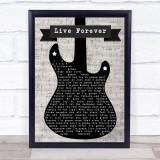 The Highwaymen Live Forever Electric Guitar Music Script Song Lyric Print