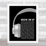 Primal Scream Movin' On Up Grey Headphones Song Lyric Print