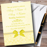 Pretty Floral Vintage Bow & Diamante Yellow Customised Anniversary Party Invitations