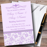 Pretty Lilac Purple Floral Diamante Customised Anniversary Party Invitations