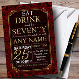 Red & Gold Flowers 70th Customised Birthday Party Invitations