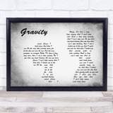 Embrace Gravity Man Lady Couple Grey Song Lyric Print