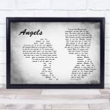 Robbie Williams Angels Man Lady Couple Grey Song Lyric Print