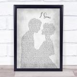 Kenny Rogers I Swear Man Lady Bride Groom Wedding Grey Song Lyric Print
