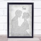 Nat King Cole Smile Man Lady Bride Groom Wedding Grey Song Lyric Print