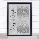 The Script Army of Angels Grey Rustic Script Song Lyric Print