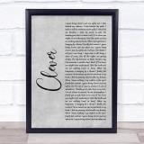 Beartooth Clever Grey Rustic Script Song Lyric Print