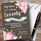 Vintage Burlap Style Floral 70th Customised Birthday Party Invitations