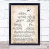 Nat King Cole Smile Man Lady Bride Groom Wedding Song Lyric Print