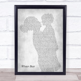 Coby Grant Winter Bear Mother & Child Grey Song Lyric Print