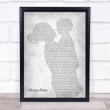 Lighthouse Family Ocean Drive Mother & Child Grey Song Lyric Print
