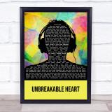 Three Days Grace Unbreakable Heart Multicolour Man Headphones Song Lyric Print