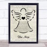 Billie Holiday Blue Moon Music Script Angel Song Lyric Print