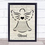 Martina McBride Blessed Music Script Angel Song Lyric Print