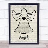 Robbie Williams Angels Music Script Angel Song Lyric Print