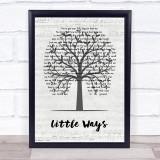Dwight Yoakam Little Ways Music Script Tree Song Lyric Print