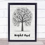 Gerry Rafferty Night Owl Music Script Tree Song Lyric Print