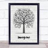 John Lennon Imagine Music Script Tree Song Lyric Print