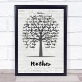 John Lennon Mother Music Script Tree Song Lyric Print