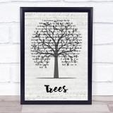 Lovehammers Trees Music Script Tree Song Lyric Print