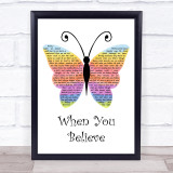 Whitney Houston & Mariah Carey When You Believe Rainbow Butterfly Song Lyric Print