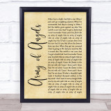 The Script Army of Angels Rustic Script Song Lyric Print