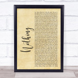 The Script Nothing Rustic Script Song Lyric Print