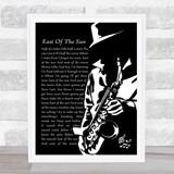 A-ha East Of The Sun Black & White Saxophone Player Song Lyric Print