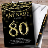 Black & Gold Sparkly Garland 80th Customised Birthday Party Invitations