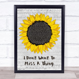 Aerosmith I Don't Want To Miss A Thing Grey Script Sunflower Song Lyric Print