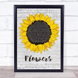 Sweet Female Attitude Flowers Grey Script Sunflower Song Lyric Print