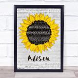 Elvis Costello Alison Grey Script Sunflower Song Lyric Print