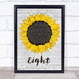 Sleeping At Last Eight Grey Script Sunflower Song Lyric Print