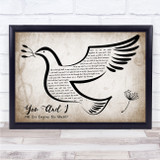 Stevie Wonder You And I (We Can Conquer The World) Vintage Dove Bird Song Lyric Print