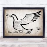 Bob Marley Three Little Birds Vintage Dove Bird Song Lyric Print