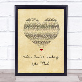 Westlife When You're Looking Like That Vintage Heart Song Lyric Print