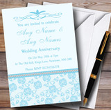Pretty Sky Blue Floral Diamante Customised Anniversary Party Invitations