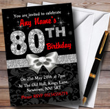 Red Black Silver Diamond 80Th Birthday Party Customised Invitations
