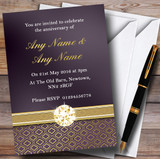 Purple Satin And Gold Customised Anniversary Party Invitations